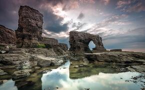 rocks, sea, landscape