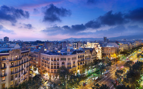 city, spain, barcelona, Spain, barcelona, evening, home, Street, road, architecture, Mountains, clouds