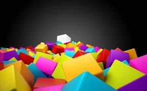 Кубики, желтые, голубые, много .