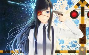 shot, dressing, tie, girl, traffic light, anime, Star, Flowers, weapon, gun, Art