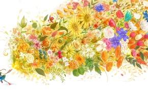 girl, magic, anime, Rose, Art, Flowers, Tulips