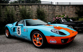 Flowers, black, ford, Mercedes, Blue, ford, orange, wall