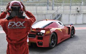 Ferrari, Corridore, traccia, rosso, Ferrari, casco