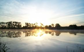 Sunrise, clouds, nature, sun, landscape, rays, lake