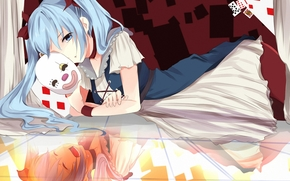 reflection, mask, cards, Art, emotions, girl, Lying, Vocaloid