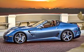 кабриолет, закат, Ferrari, голубой, феррари