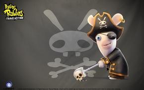 pirata, crneo, conejo, parche en el ojo