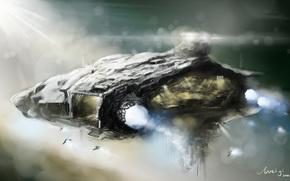 корабль, истребители, арт, туманность, космос