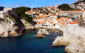 rocks, town, Trees, houses, sea, Tilt Shift, Croatia, Roof, coast