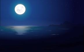 луна, море, арт, пейзаж, ночь, звезды