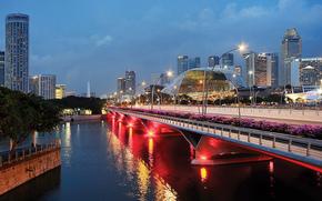 Singapour, soire, crpuscule, lumires, maison, pont