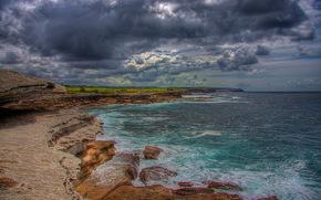 sea, rocks, clouds, landscape