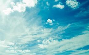 cielo, nuvole, luce, blu
