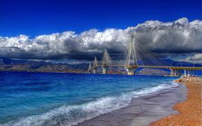 Grecia, Ponte di Rio-Antirio, mare, costa, nuvole