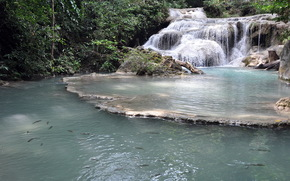 waterfall, thailand, erawan, nature