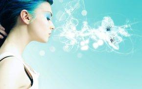ragazza, dai capelli blu, fumare, fiore.
