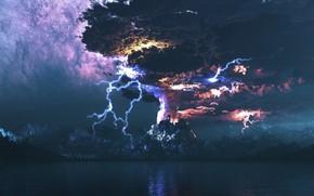 sea, volcano, lightning