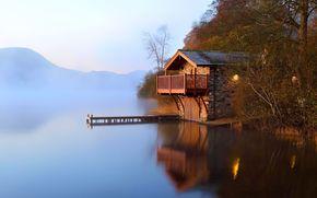 lago, piccola casa, nebbia