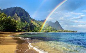 море, горы, пляж, радуга