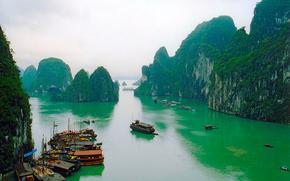 Vietnam, Mountains, Ships