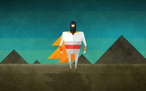 sky, man, a superhero, shadow, Mountains
