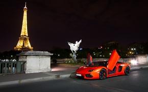 Eiffel byashnya, vue de ct, Lamborghini, aventador, nuit, orange, Lamborghini