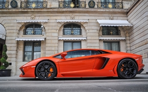 orange, building, Lamborghini, profile, Lamborghini, window, aventador