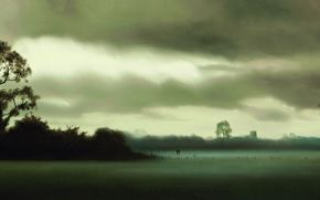 two, clouds, landscape, figures, fog, field, Art, Trees, gray, sky, picture