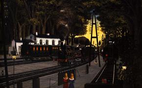 image, terminal, locomotives, fumer, personnes, dessin, station, lumires, Rails, Art, arbres