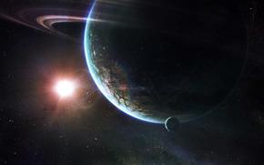 space, planet, sun, Stars, ring
