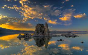 Lake, Island, reflection, clouds, sunset