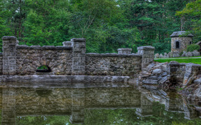 pond, Wall, Trees, landscape