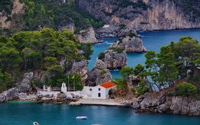 Grecia, mare, Rocks, loggia, Barche, paesaggio