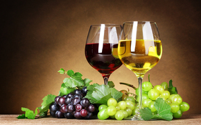 White, leaves, wine, grapes, glasses, bunch, Berries, red