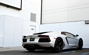 white, Lamborghini, parking, aventador, Wall, back view, Lamborghini, door