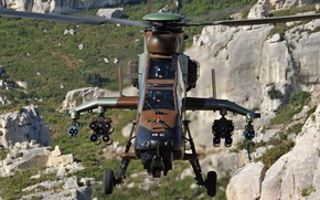консорциумом, авиация, переди., разработанный, вертолет, современный, ударный, германским, франко, вид, с