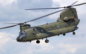 американский, тяжелый, транспортный, военно, вертолет, схемы., вертолет, продольной, Боинг