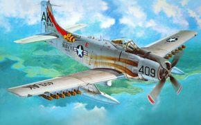 американский, войнах., применялся, состоял, и, Вьетнамской, в, арт, Скайрейдер, поршневой, ВВС, века, четверть, вооружении, Корейской, США, самолет, на, штурмовик, ВМС