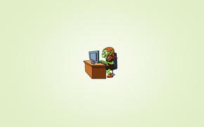 тролль, монитор, стул, хитрая улыбка, минимализм, стол, сидит