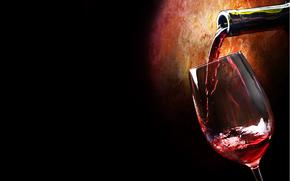 bottle, wine, goblet, red