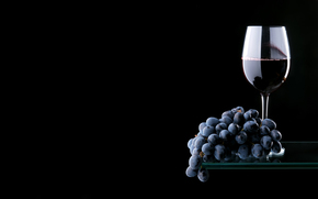 red, shelf, grapes, glass, reflection, goblet, wine, bunch