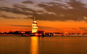 Istanbul, coucher du soleil, Ville, lumires