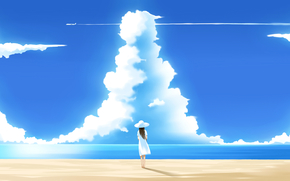 summer, sky, beach, clouds
