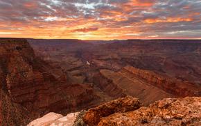 rocks, USA, sunset, canyon, sky