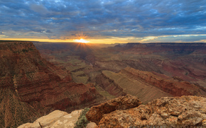 USA, sunset, Colorado Plateau, Arizona, clouds, sun, rays, The Grand Canyon, The Grand Canyon, The Grand Canyon, sky