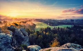 Rocks, alberi, nebbia, cielo, sole, autunno, \ Valley