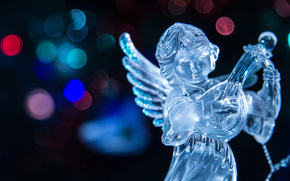 lights, blurred, New, New Year, angel, lute