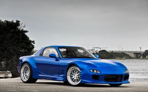 вода, тюнинг, синий, мазда, Mazda