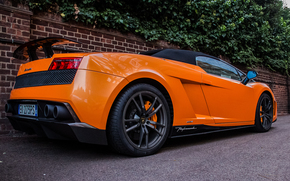 Trees, Lamborghini, Lamborghini, orange, wall