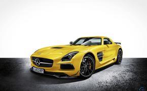 Mercedes, машина, авто, автомобил, жёлтый, мерседес